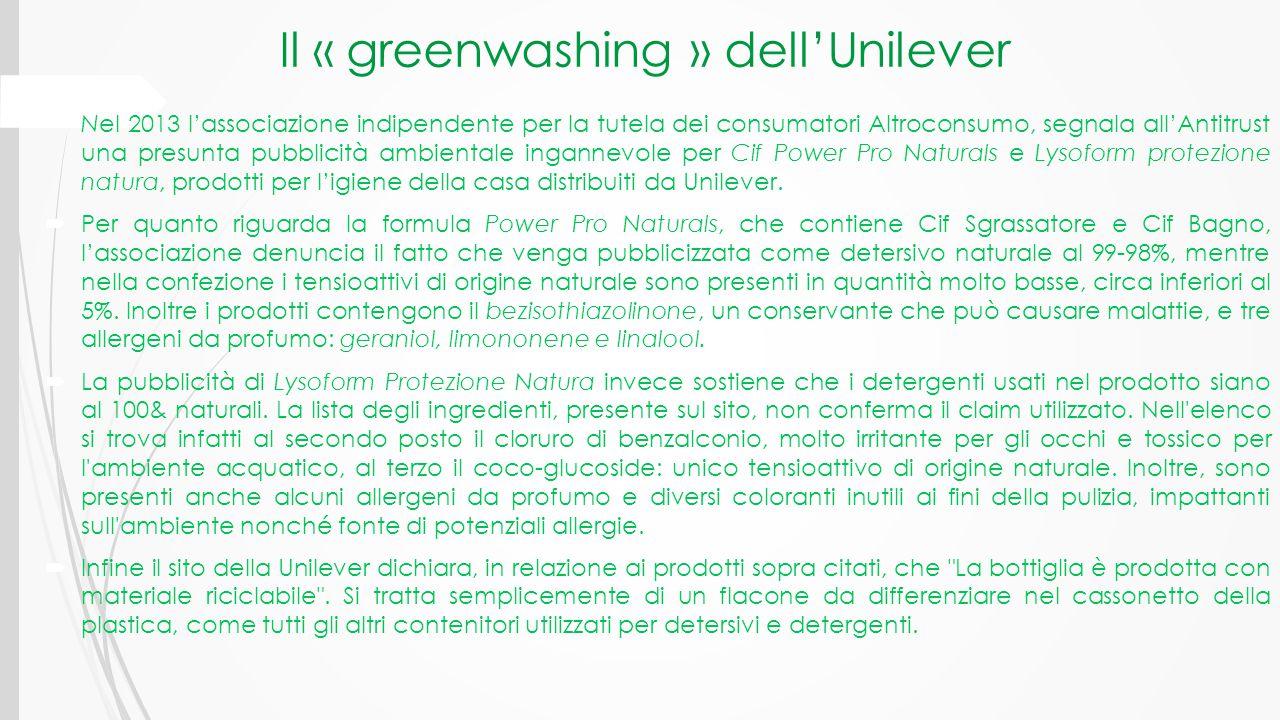 Il « greenwashing » dell'Unilever