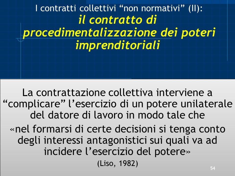 I contratti collettivi non normativi (II): il contratto di procedimentalizzazione dei poteri imprenditoriali