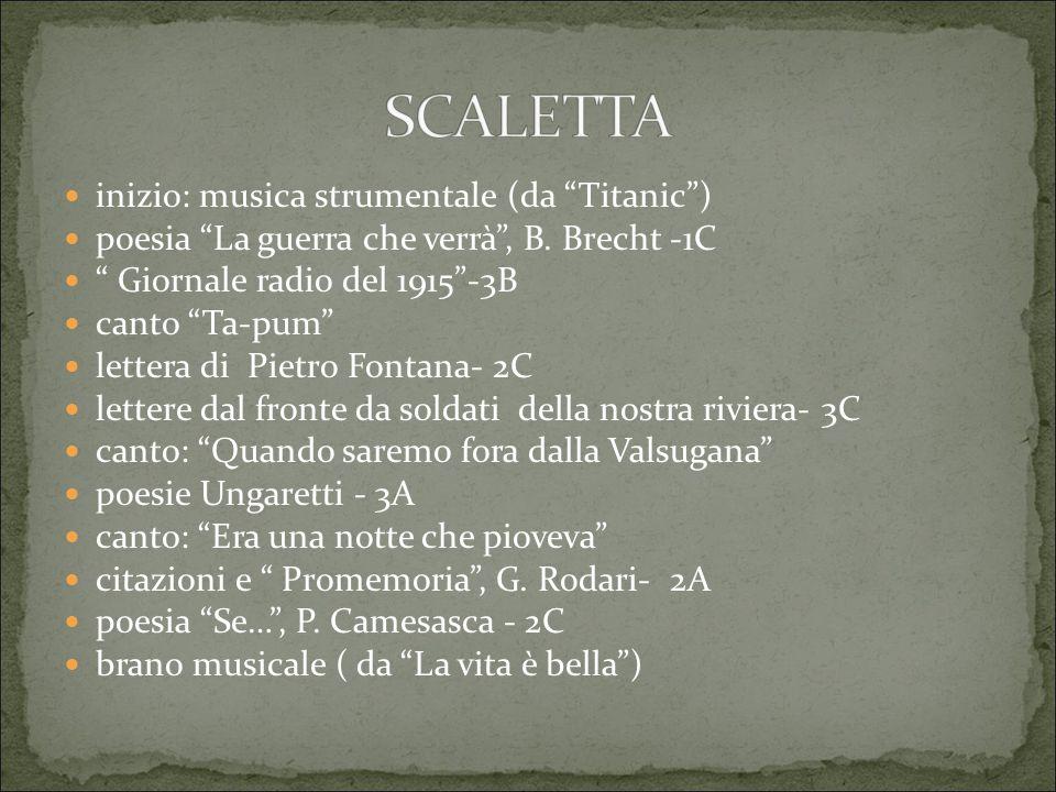 SCALETTA inizio: musica strumentale (da Titanic )