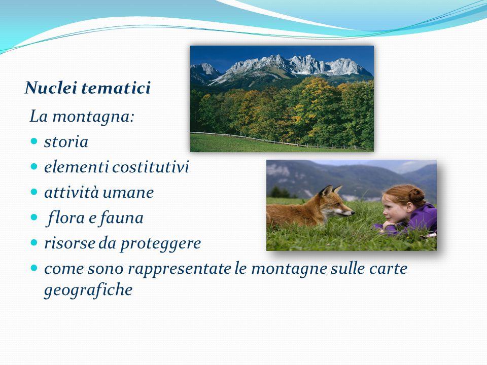 Nuclei tematici La montagna: storia. elementi costitutivi. attività umane. flora e fauna. risorse da proteggere.