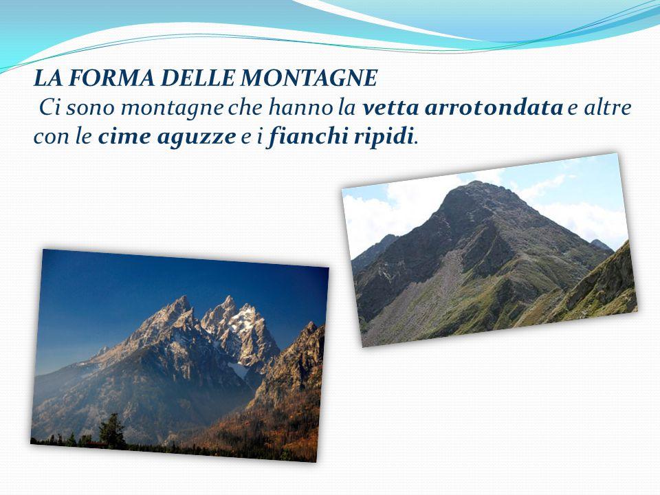 LA FORMA DELLE MONTAGNE Ci sono montagne che hanno la vetta arrotondata e altre con le cime aguzze e i fianchi ripidi.