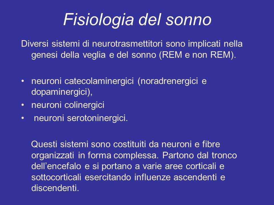 Fisiologia del sonno Diversi sistemi di neurotrasmettitori sono implicati nella genesi della veglia e del sonno (REM e non REM).