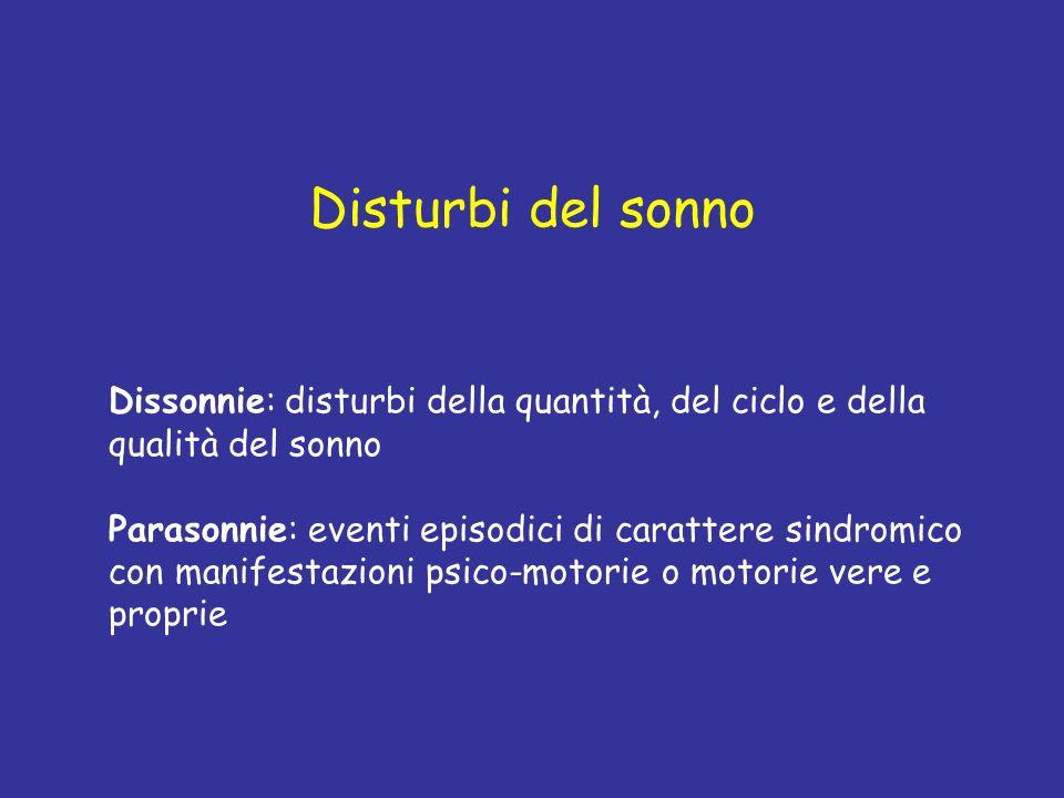 Disturbi del sonno Dissonnie: disturbi della quantità, del ciclo e della qualità del sonno.