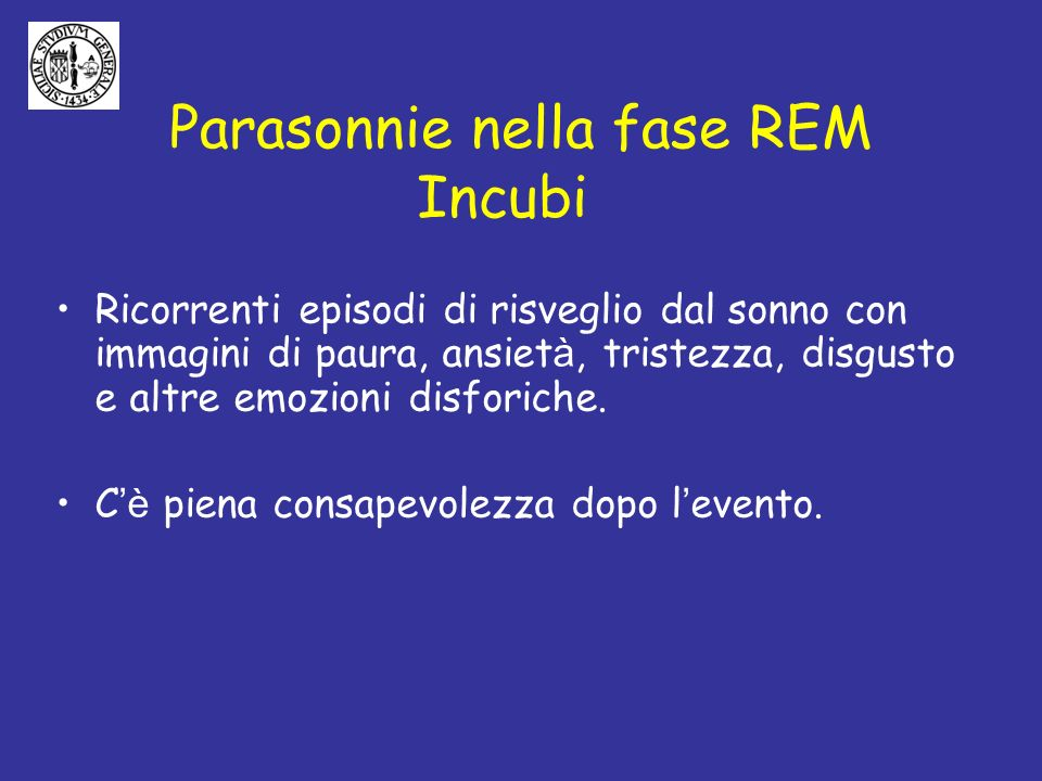 Parasonnie nella fase REM Incubi