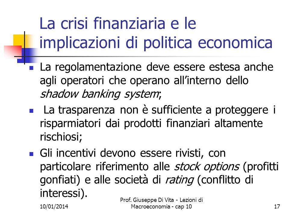 La crisi finanziaria e le implicazioni di politica economica
