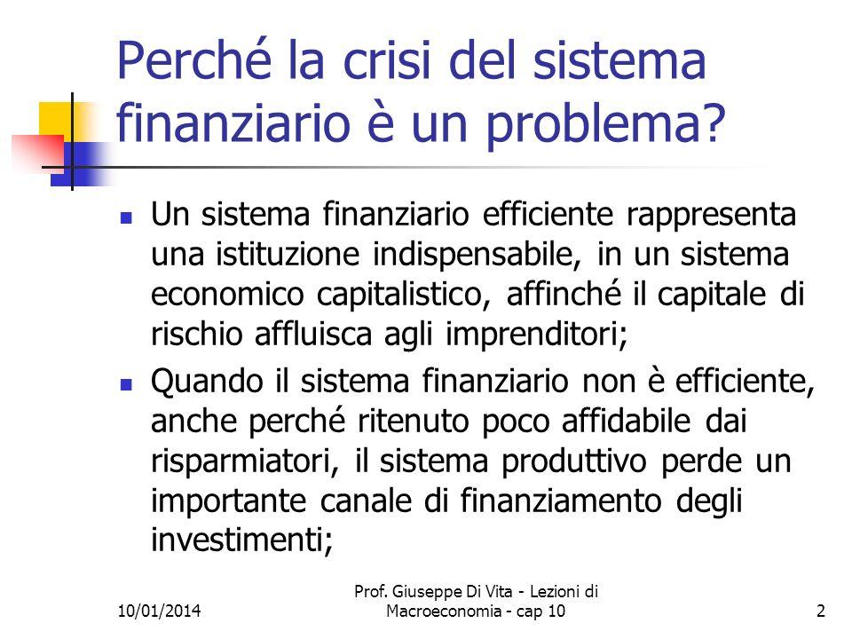 Perché la crisi del sistema finanziario è un problema