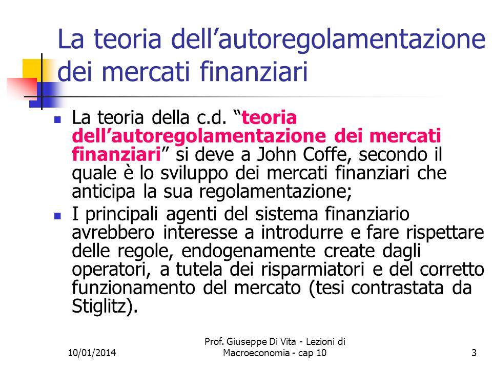 La teoria dell'autoregolamentazione dei mercati finanziari