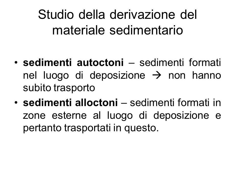 Studio della derivazione del materiale sedimentario