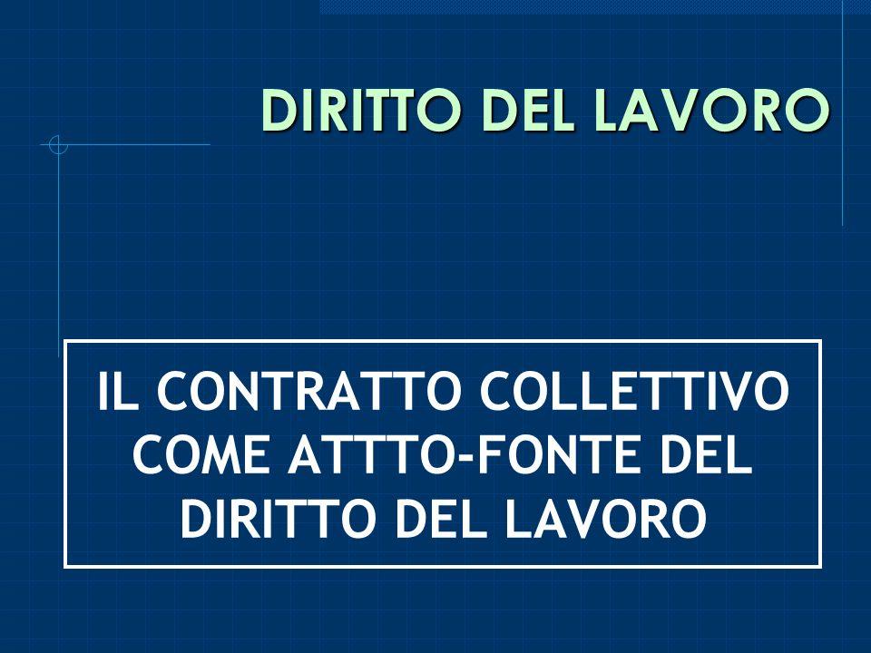IL CONTRATTO COLLETTIVO COME ATTTO-FONTE DEL DIRITTO DEL LAVORO