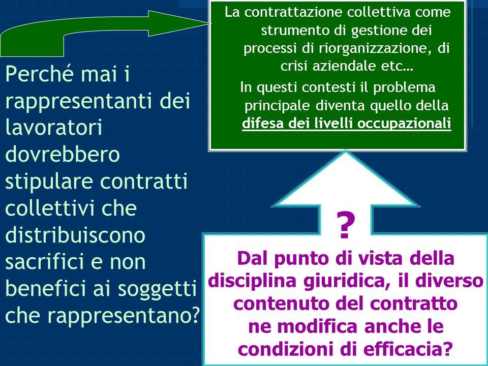 La contrattazione collettiva come strumento di gestione dei processi di riorganizzazione, di crisi aziendale etc…