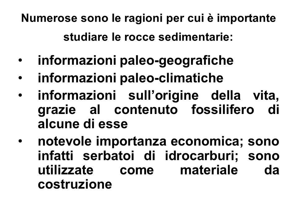 informazioni paleo-geografiche informazioni paleo-climatiche