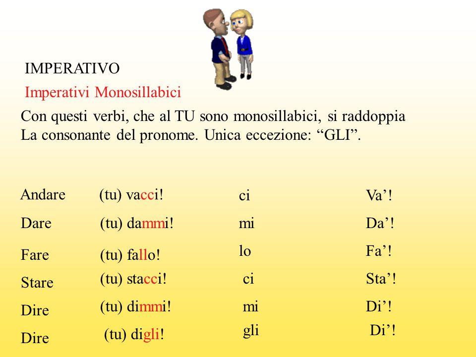 IMPERATIVO Imperativi Monosillabici. Con questi verbi, che al TU sono monosillabici, si raddoppia.
