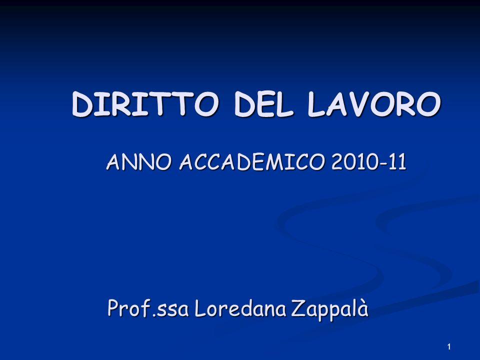 DIRITTO DEL LAVORO ANNO ACCADEMICO 2010-11