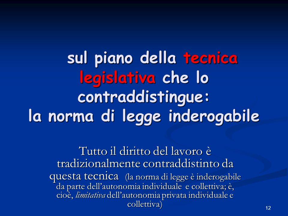 sul piano della tecnica legislativa che lo contraddistingue: la norma di legge inderogabile