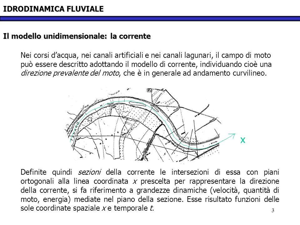 x IDRODINAMICA FLUVIALE Il modello unidimensionale: la corrente