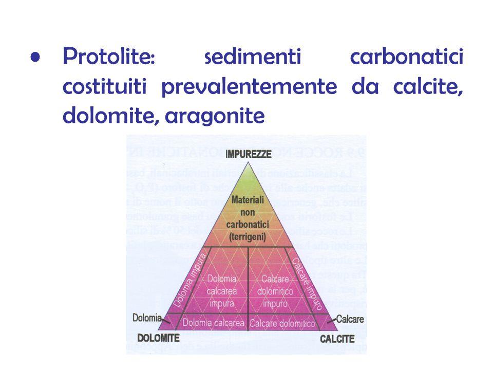 Protolite: sedimenti carbonatici costituiti prevalentemente da calcite, dolomite, aragonite