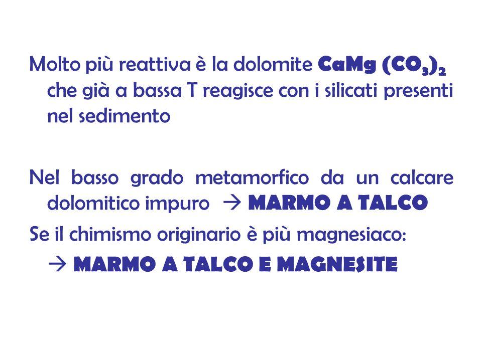 Molto più reattiva è la dolomite CaMg (CO3)2 che già a bassa T reagisce con i silicati presenti nel sedimento