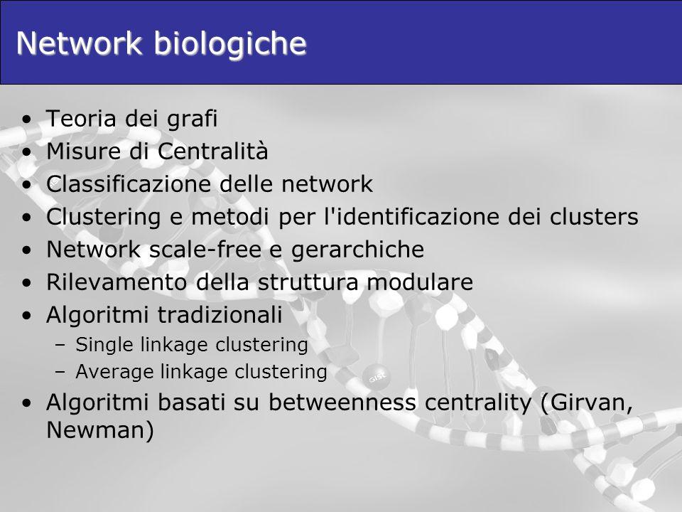 Network biologiche Teoria dei grafi Misure di Centralità