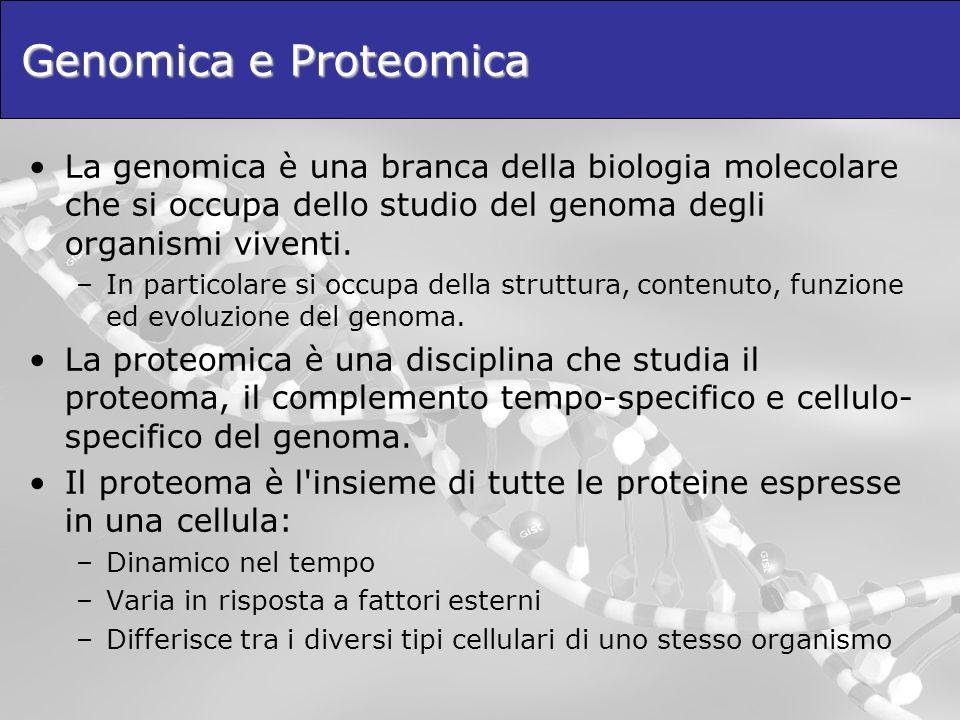 Genomica e Proteomica La genomica è una branca della biologia molecolare che si occupa dello studio del genoma degli organismi viventi.