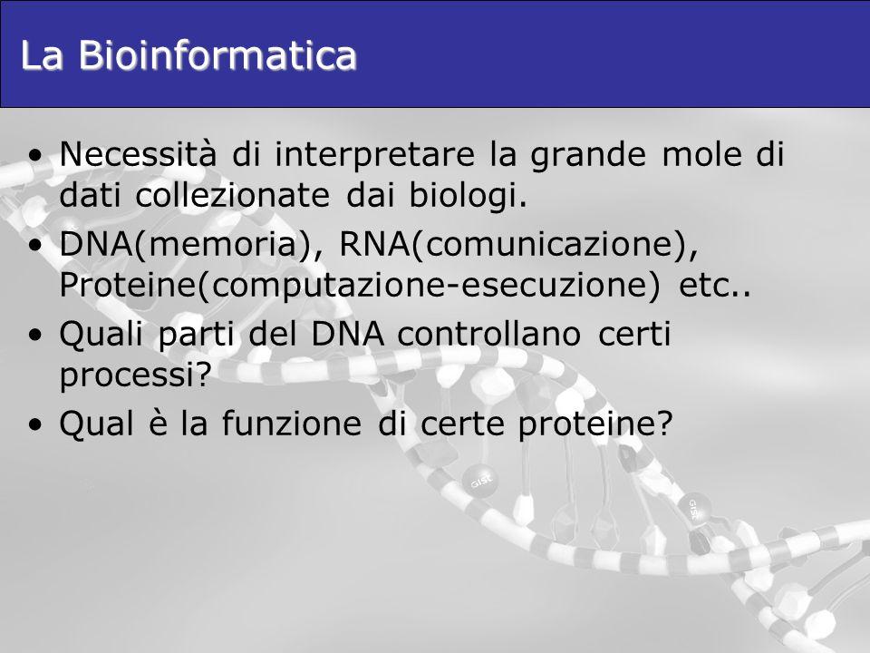 La Bioinformatica Necessità di interpretare la grande mole di dati collezionate dai biologi.