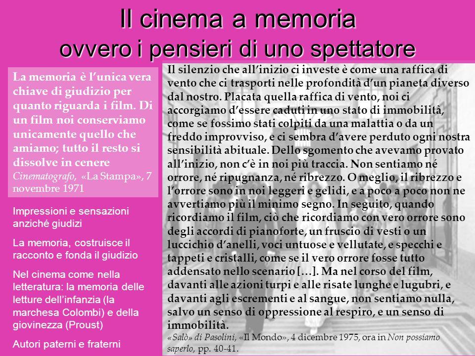 Il cinema a memoria ovvero i pensieri di uno spettatore