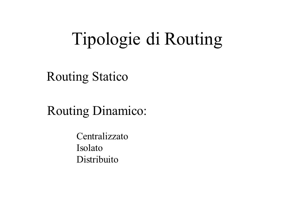 Tipologie di Routing Routing Statico Routing Dinamico: Centralizzato