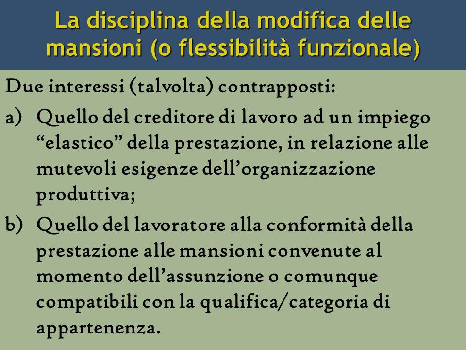 La disciplina della modifica delle mansioni (o flessibilità funzionale)