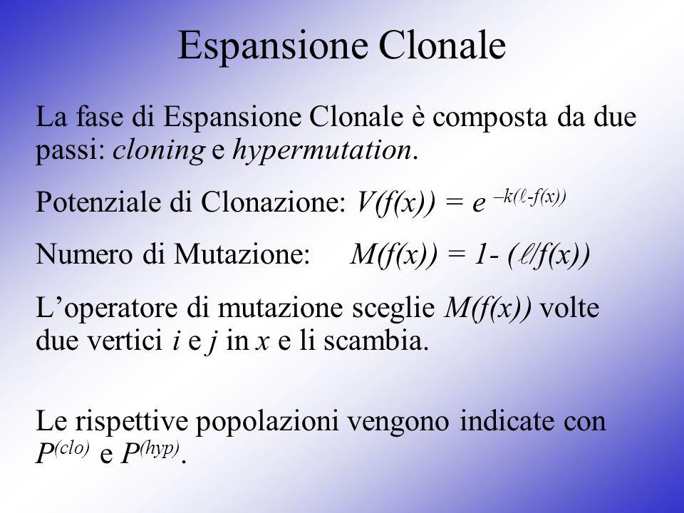 Espansione Clonale La fase di Espansione Clonale è composta da due passi: cloning e hypermutation. Potenziale di Clonazione: V(f(x)) = e –k(-f(x))