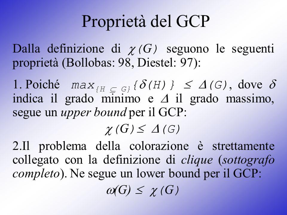 Proprietà del GCPDalla definizione di (G) seguono le seguenti proprietà (Bollobas: 98, Diestel: 97):