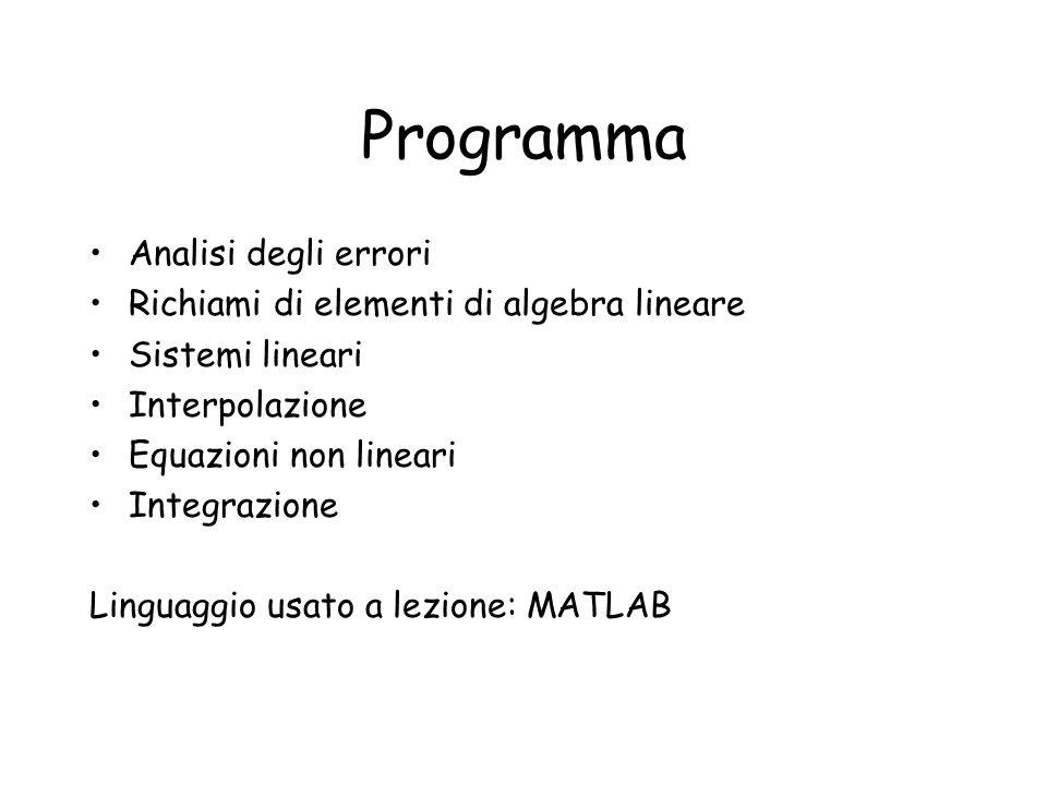 Programma Analisi degli errori Richiami di elementi di algebra lineare