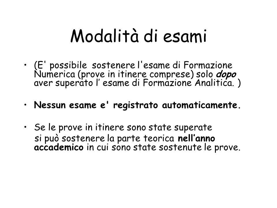 Modalità di esami