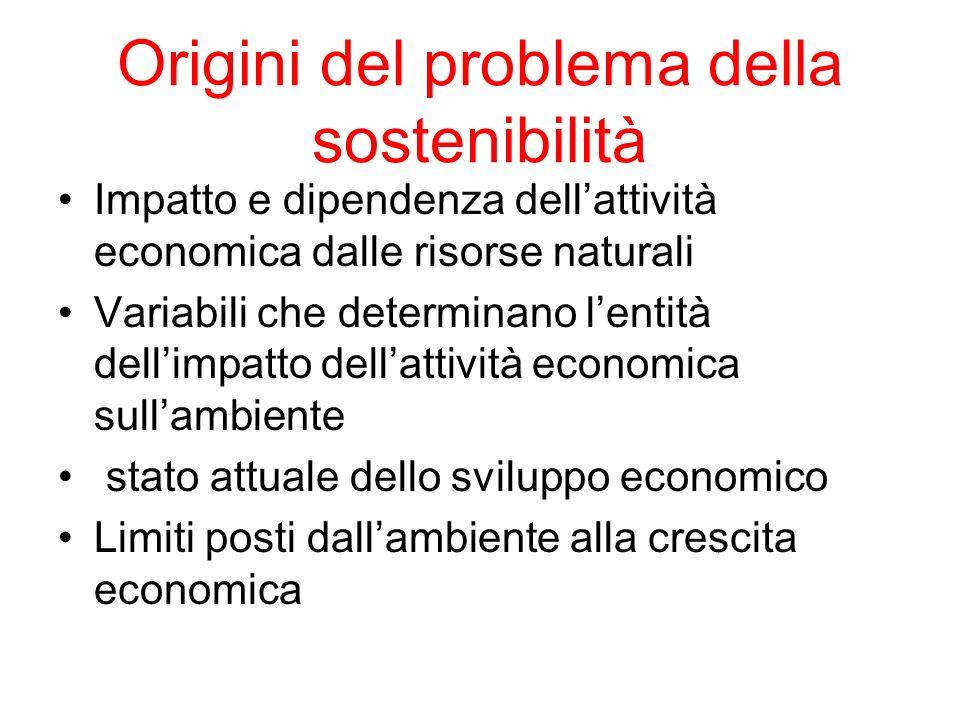 Origini del problema della sostenibilità