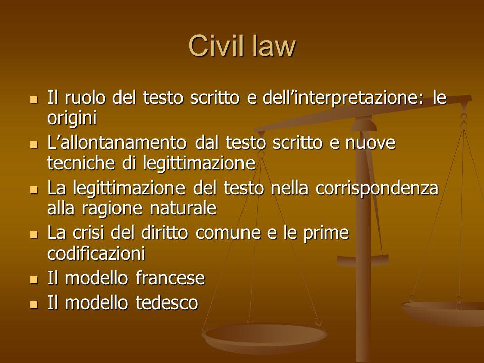 Civil law Il ruolo del testo scritto e dell'interpretazione: le origini. L'allontanamento dal testo scritto e nuove tecniche di legittimazione.