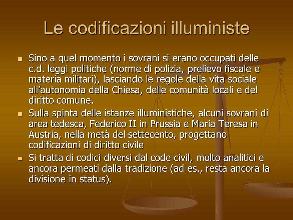 Le codificazioni illuministe