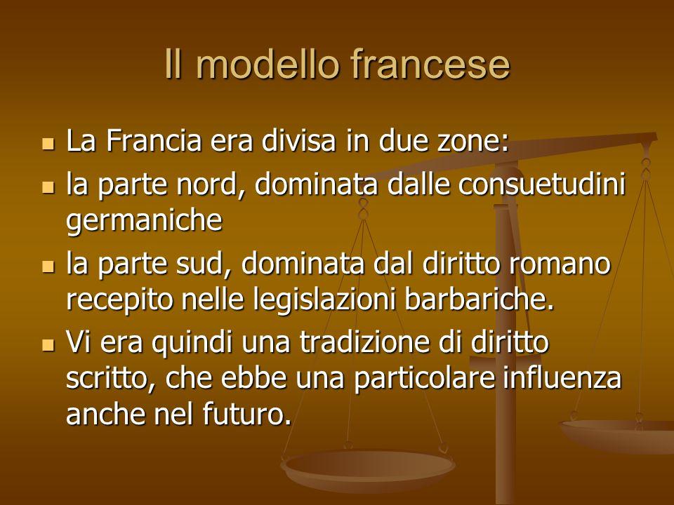 Il modello francese La Francia era divisa in due zone: