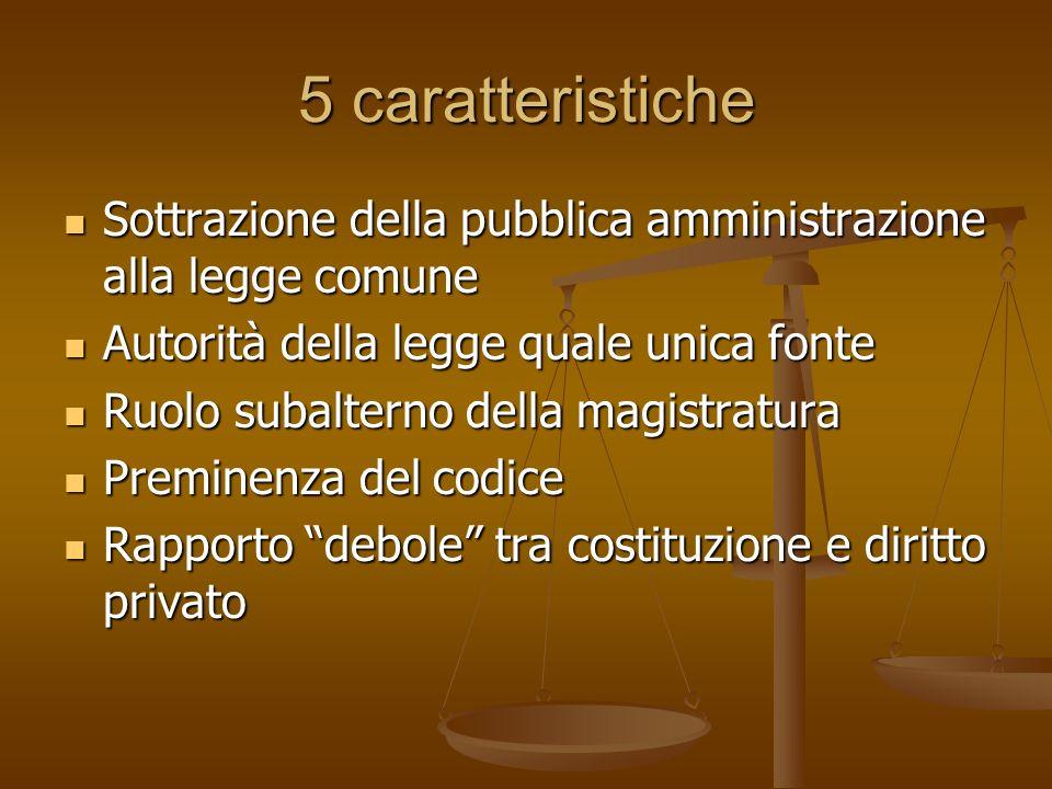 5 caratteristiche Sottrazione della pubblica amministrazione alla legge comune. Autorità della legge quale unica fonte.