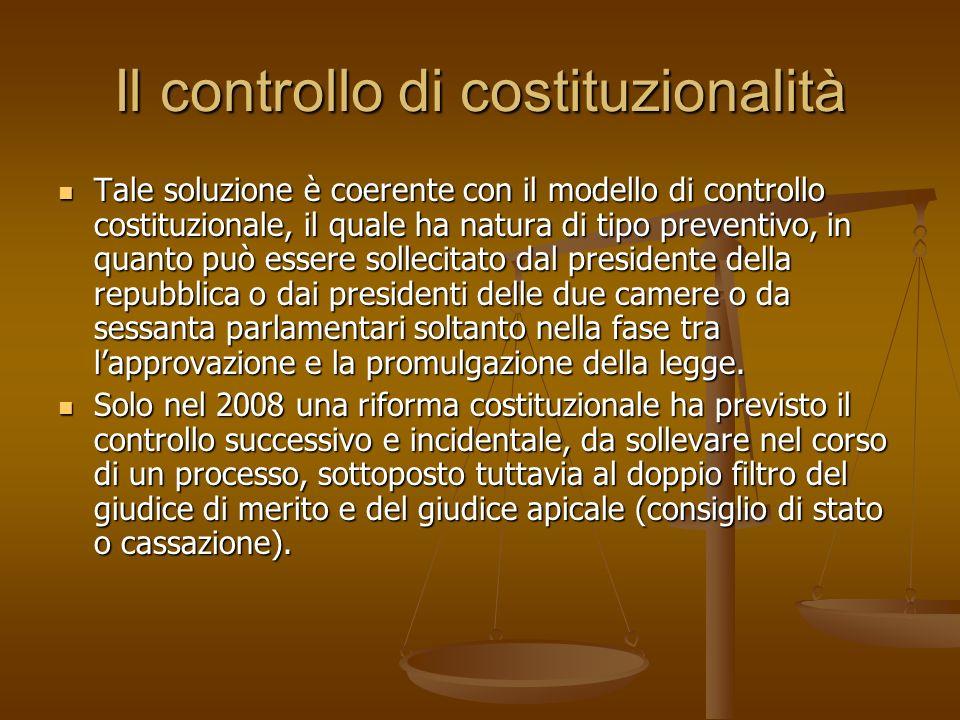 Il controllo di costituzionalità