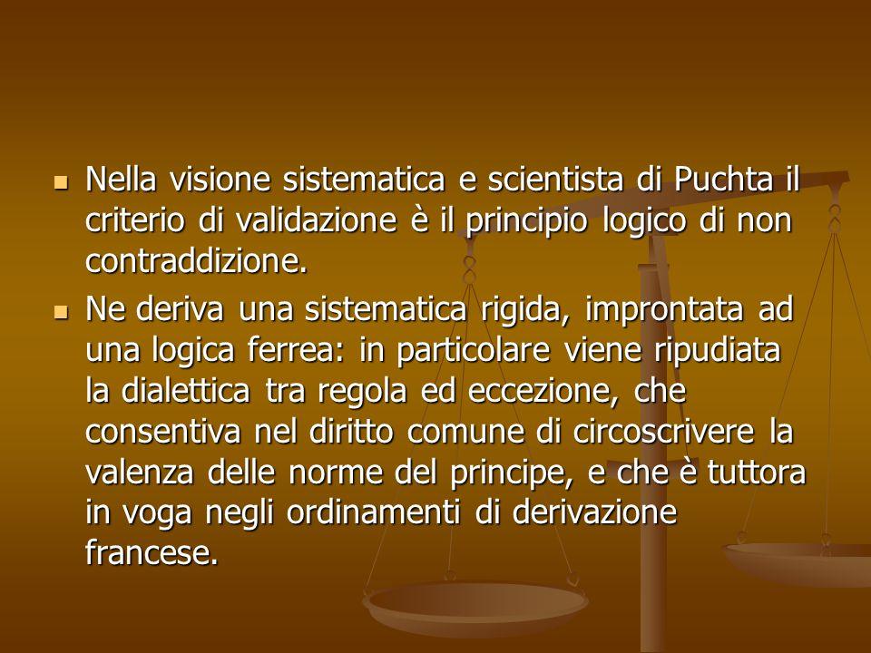 Nella visione sistematica e scientista di Puchta il criterio di validazione è il principio logico di non contraddizione.