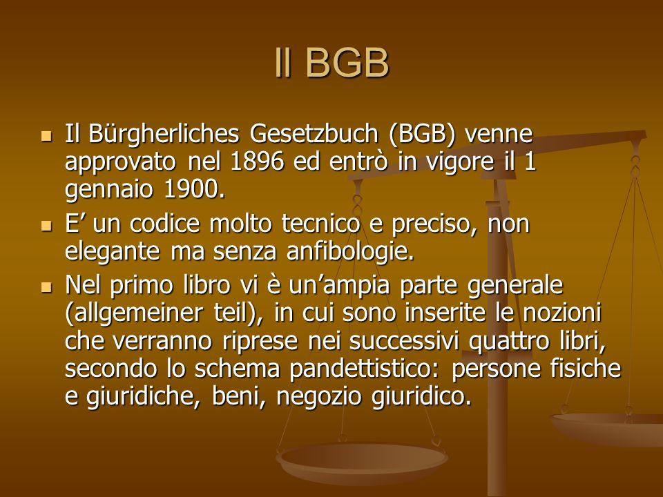 Il BGB Il Bürgherliches Gesetzbuch (BGB) venne approvato nel 1896 ed entrò in vigore il 1 gennaio 1900.