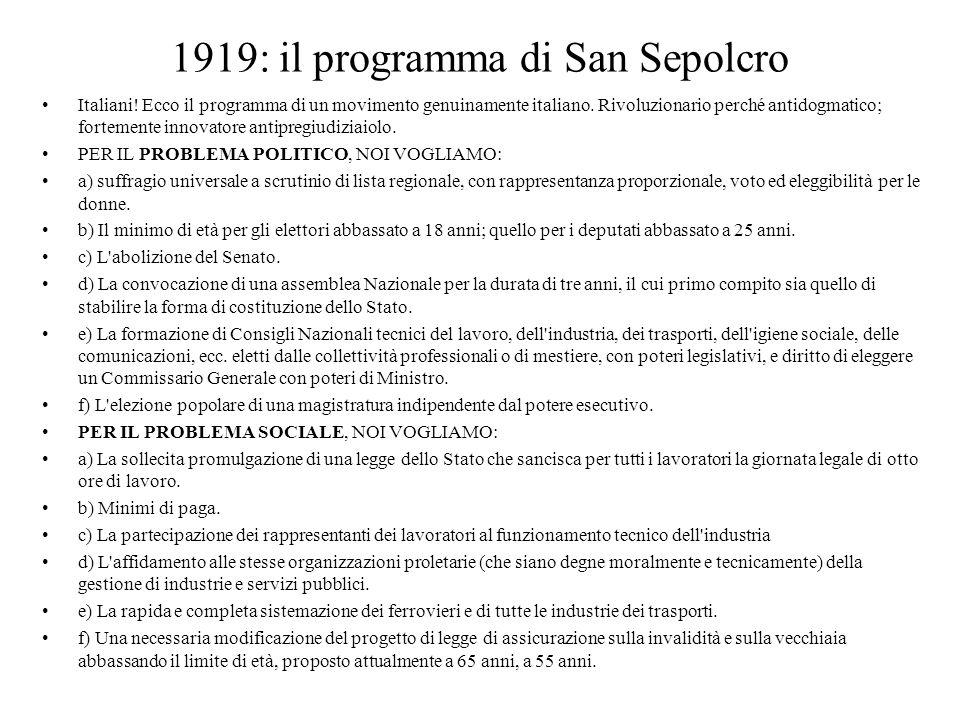 1919: il programma di San Sepolcro