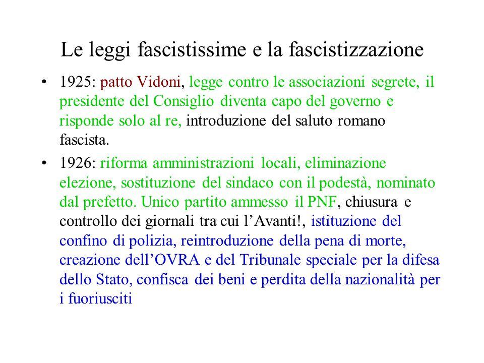 Le leggi fascistissime e la fascistizzazione