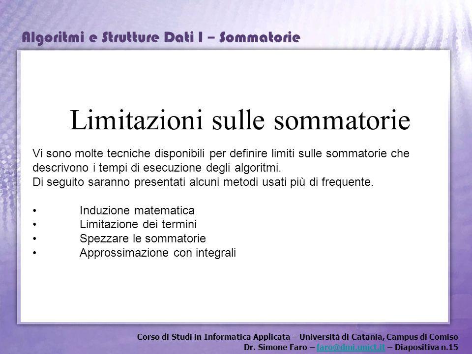 Limitazioni sulle sommatorie