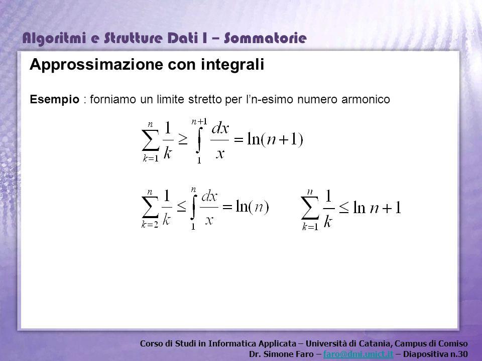 Approssimazione con integrali