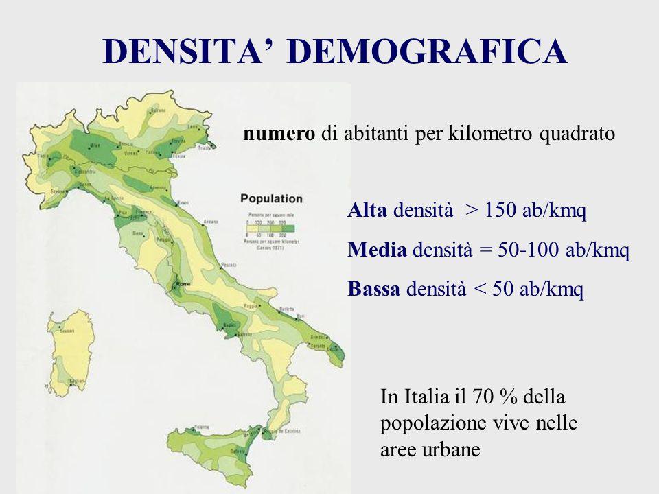 DENSITA' DEMOGRAFICA numero di abitanti per kilometro quadrato