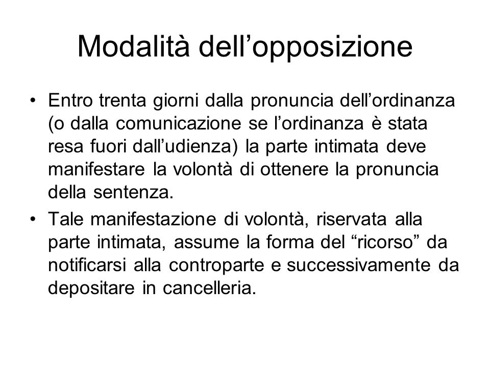 Modalità dell'opposizione