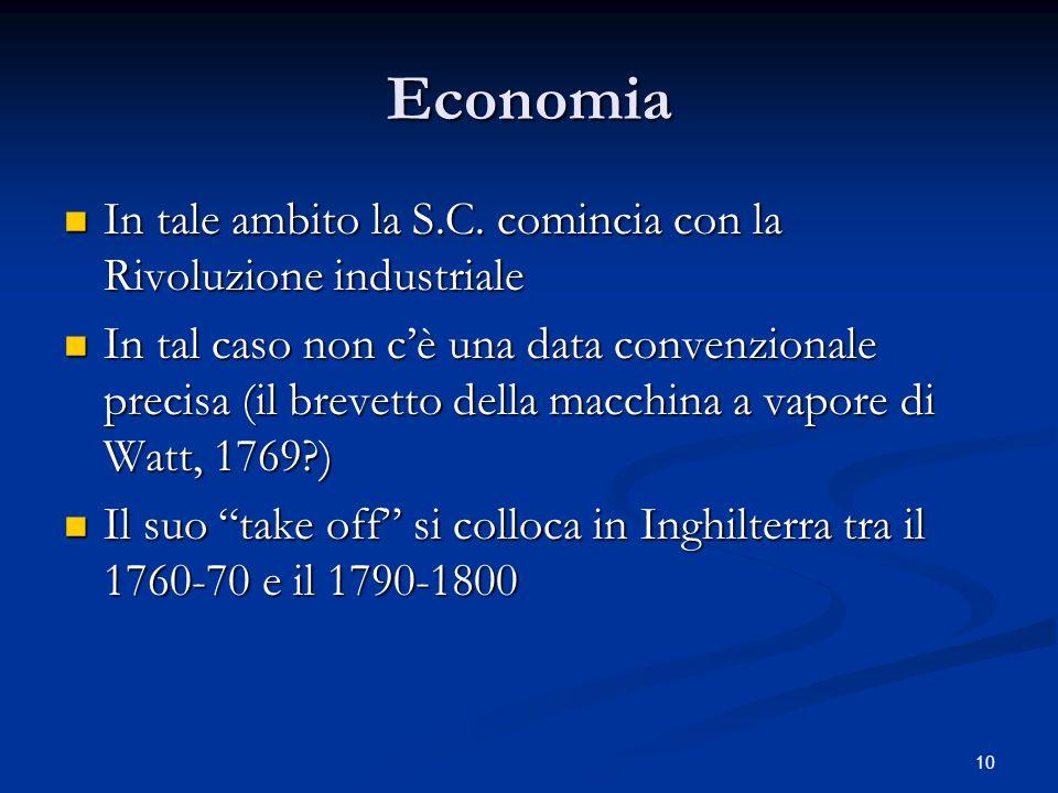 Economia In tale ambito la S.C. comincia con la Rivoluzione industriale.