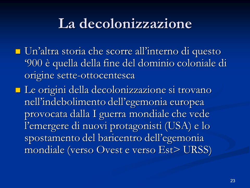 La decolonizzazione Un'altra storia che scorre all'interno di questo '900 è quella della fine del dominio coloniale di origine sette-ottocentesca.