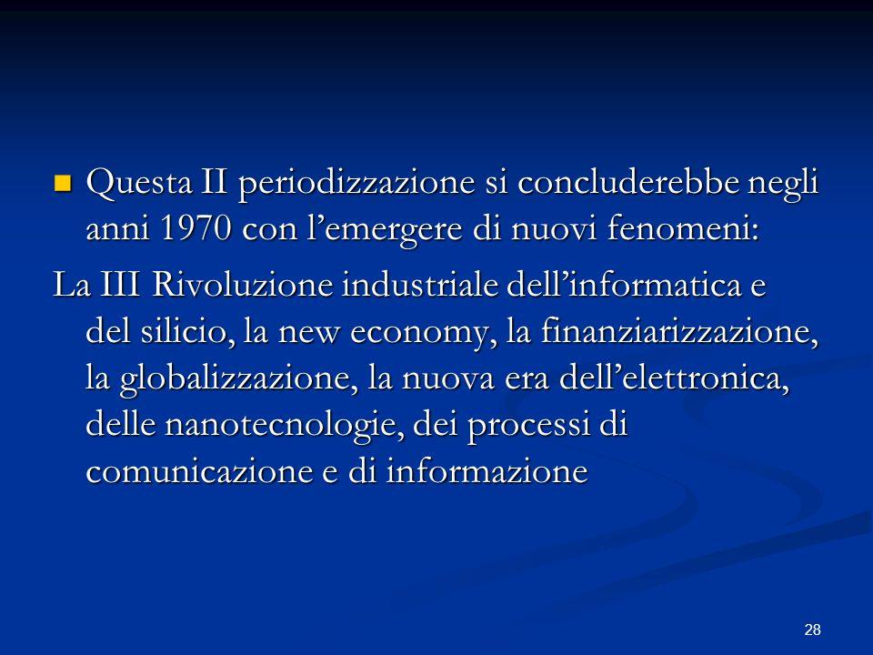 Questa II periodizzazione si concluderebbe negli anni 1970 con l'emergere di nuovi fenomeni: