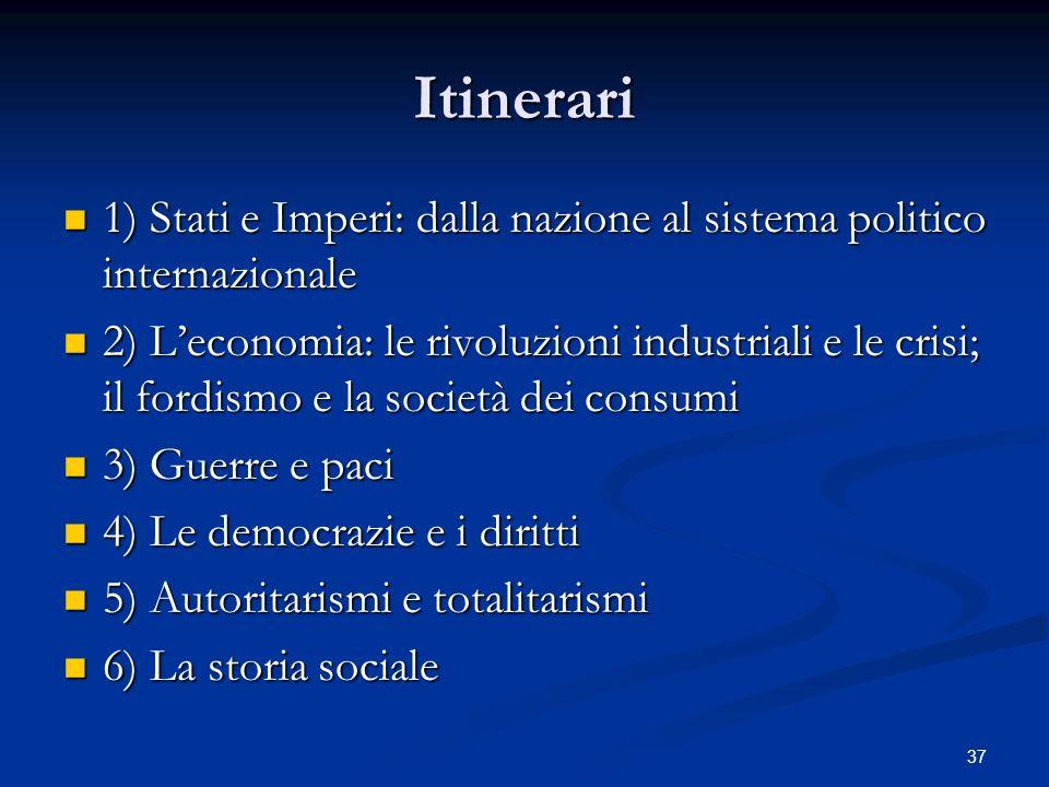 Itinerari 1) Stati e Imperi: dalla nazione al sistema politico internazionale.