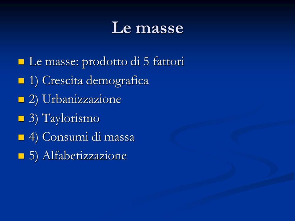 Le masse Le masse: prodotto di 5 fattori 1) Crescita demografica